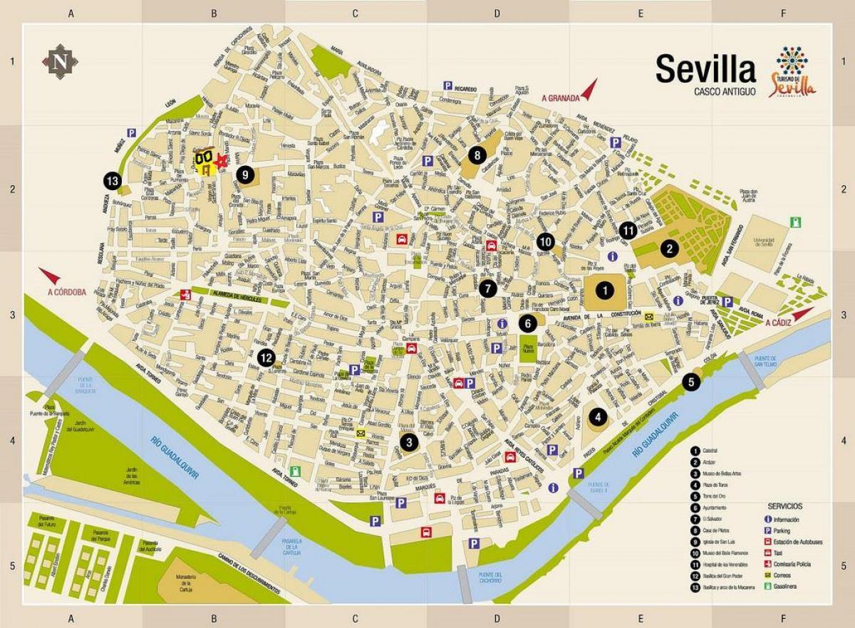Karta Spanien Granada.Karta Over Sevilla Sevilla Pa Karta Andalusien Spanien
