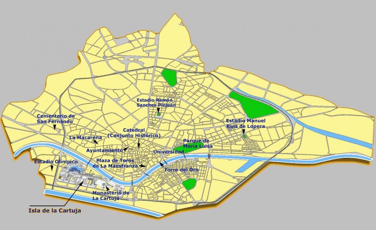 Karta Pa Spansk.Sevilla Sevardheter Karta Sevilla Spanien Sevardheter Karta